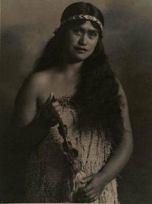 Portrait of a woman (Rewa Mihaka) with taiaha