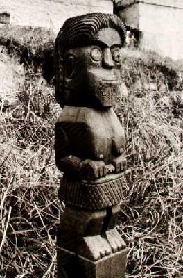 Carved figure on post at Urupa