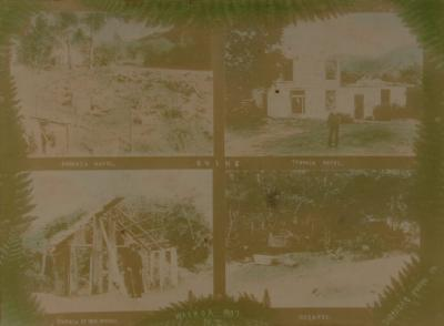 Montage - four views buried village - McRae's hotel/Terrace hotel/Hazards house/Sophia and house
