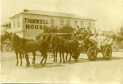 Thirwell house with decorated wagon