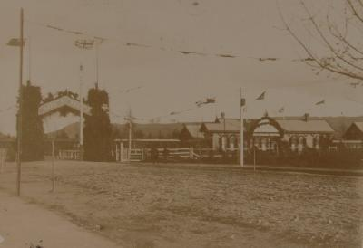 Rotorua Railway station decorated for visit of Duke & Duchess of York - 1901