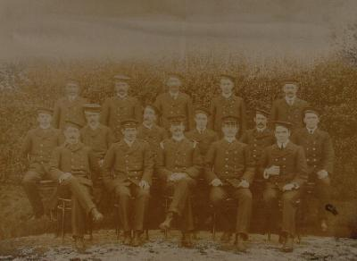 Rotorua fire brigade 1905-06 (volunteer) left to right back row: Sederholme, Stewart ?, W Tucker, Peat, P Cossey, centre: R Griffiths, M Hickey ?, Johnston, R Tucker, Henry (Harry) Marlow, C Griffths, front: Woods, Pilinger, Bennett, A Lake, W French