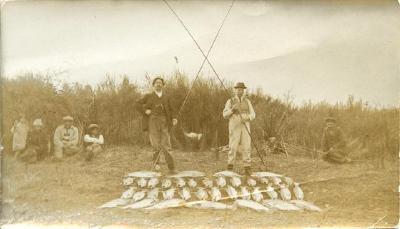 One day's catch - Fred Dunsmuir and A J Iles
