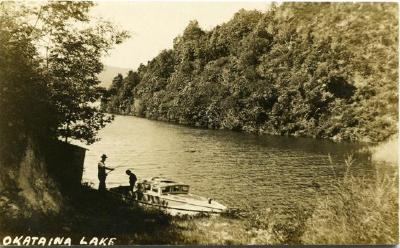 A.J Iles fishing at Haumingi - Okataina