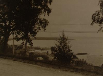 looking north west from Lake Road, slate roofed house to right, the Gables still (1988) exists