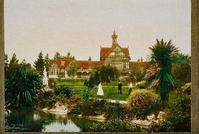 Hand coloured photograph of The Bath House, Government Gardens, about 1909