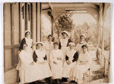 Nurses on Bath House back verandah