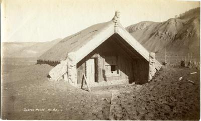 Hinemihi wharenui (meeting house) at Te Wairoa, covered in ash after the Tarawera eruption