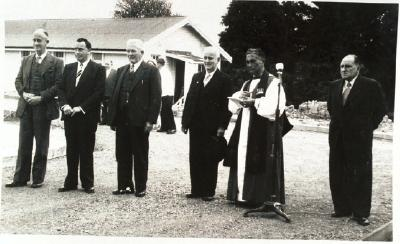 Bishop Panapa and Dr E Bridgman to his left