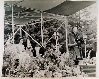 Mayor A.M Linton presenting address to Queen Elizabeth II and Duke of Edinburgh at Motutara reception