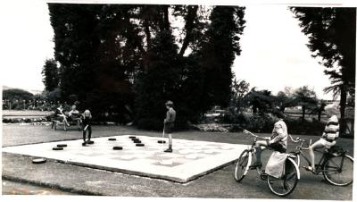 Children playing giant checkers in Government Gardens, Rotorua