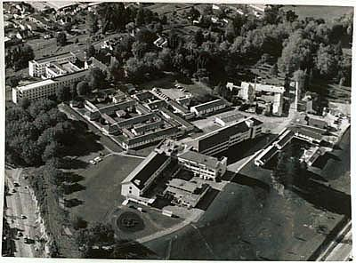 Aerial view of Rotorua hospital looking south east