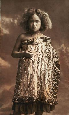 Post card featuring studio portrait of unknown Maori girl