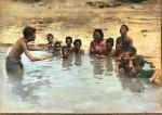 The Conductor with children bathing, Rotorua 1930s