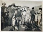 Catch of hapuka, taken by C.R (Darkie) Lloyd, Winiata Tapsell and ?, near Plate Island B.O.P, photo left to right: W Tapsell, C.R Lloyd, ?